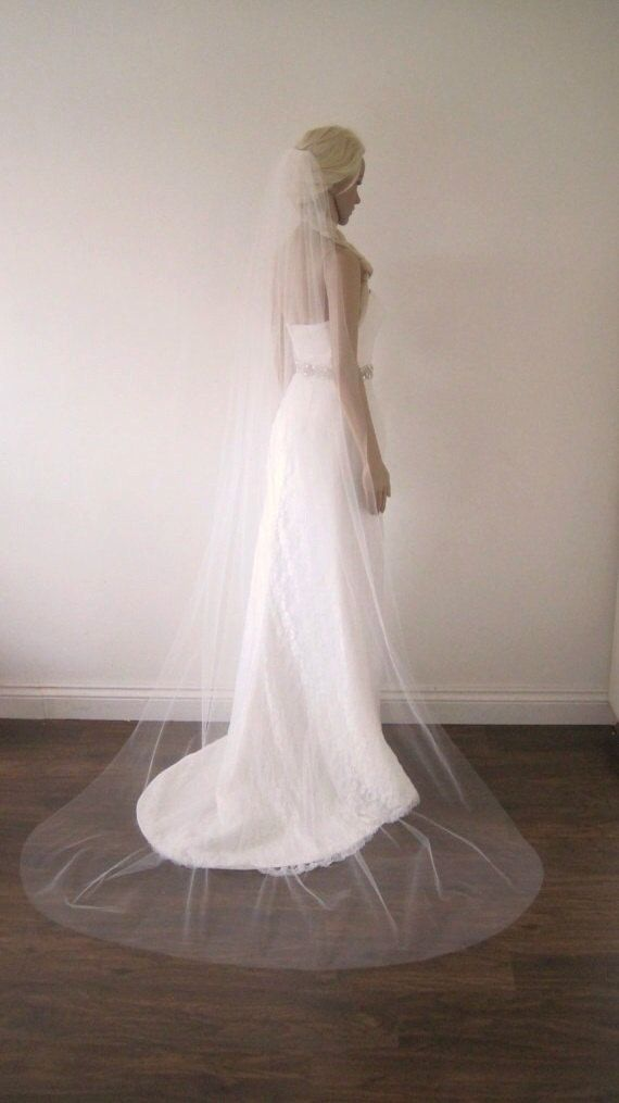 Ivory cathedral veil chapel length wedding veil by BridalStar