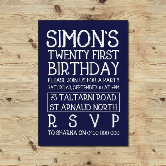 21st Birthday Invitation  Male Invitation  Boy's