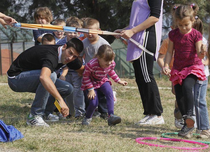 Novak Djokovic visits kindergarten Iin Serbia as UNICEF Ambassador.