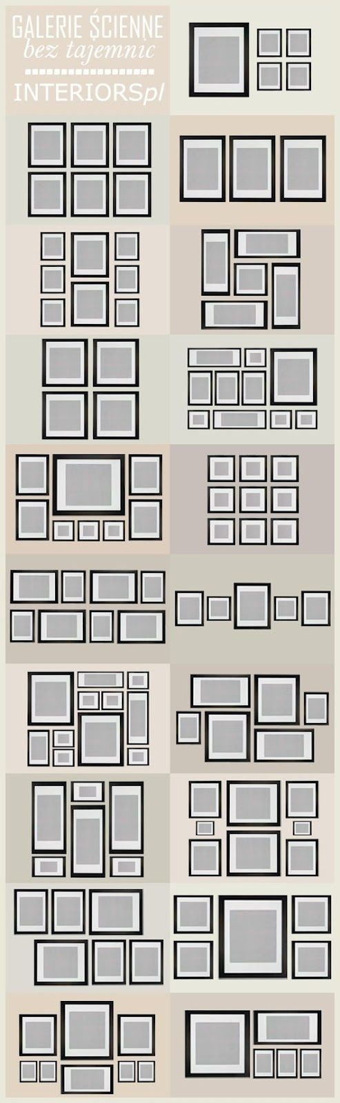 Picture Layout - lay out your pics as   shown on top of a piece of clear plastic. Lift each picture individually and   mark where you need to make a hole using pen on the plastic. Once all are drawn   on, remove pics and place plastic on wall, drill through each mark and hey   presto, each picture wall-mounted perfectly- need to do this in living   room