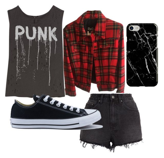 """""""punk will never die"""" by izatelega on Polyvore featuring R13, Dolce&Gabbana, Ksubi, Converse and Recover"""