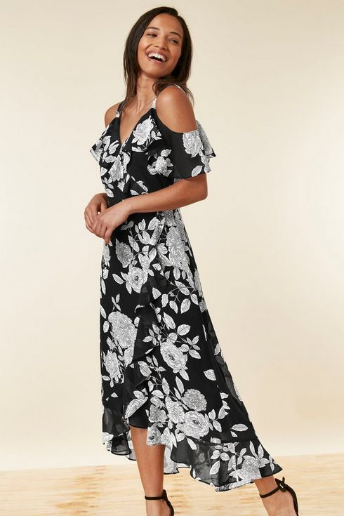 0e1375cd45 Black Floral Print Ruffle Midi Dress in 2019 | Winter Fashion ...