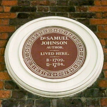 Dr. Samuel Johnson plaque at 17 Gough Street