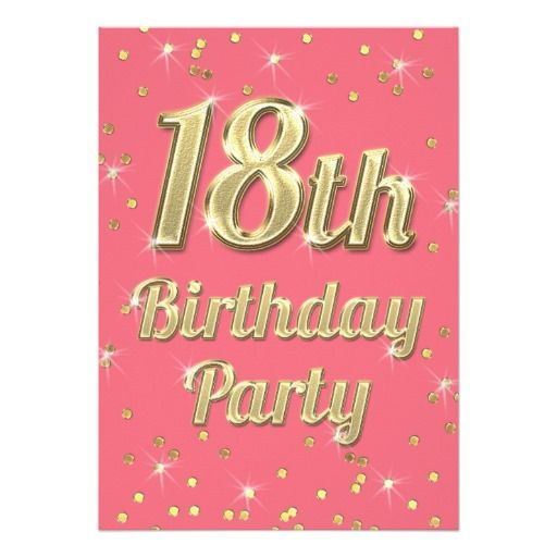 437 best 18th birthday party invitations images on pinterest 18th birthday gold bling typography confetti pink card filmwisefo