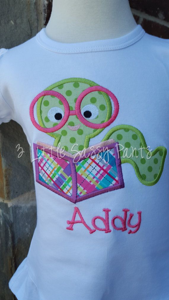 Back To School Bookworm Shirt- Back To School Applique Shirt- Custom Embroidered Shirt- First Day of School Shirt
