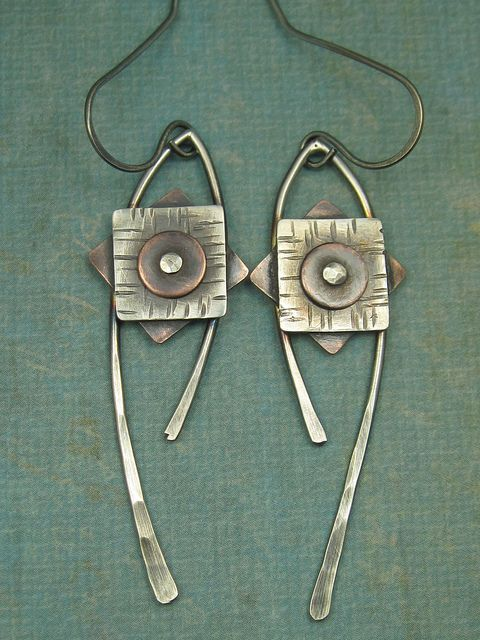 Sterling Silver and Copper Complex Geometric Dangle Earrings by AmorphicMetals, via Flickr