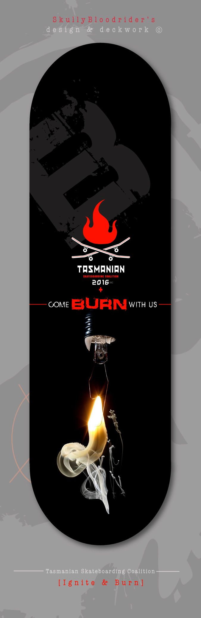 'Ignite & Burn'... deck design, words to Skate & Live by. Photography by: Juan Zambrano. Time to turn up the heat and see who burns brightest SkullyBloodrider 7.5.2016.