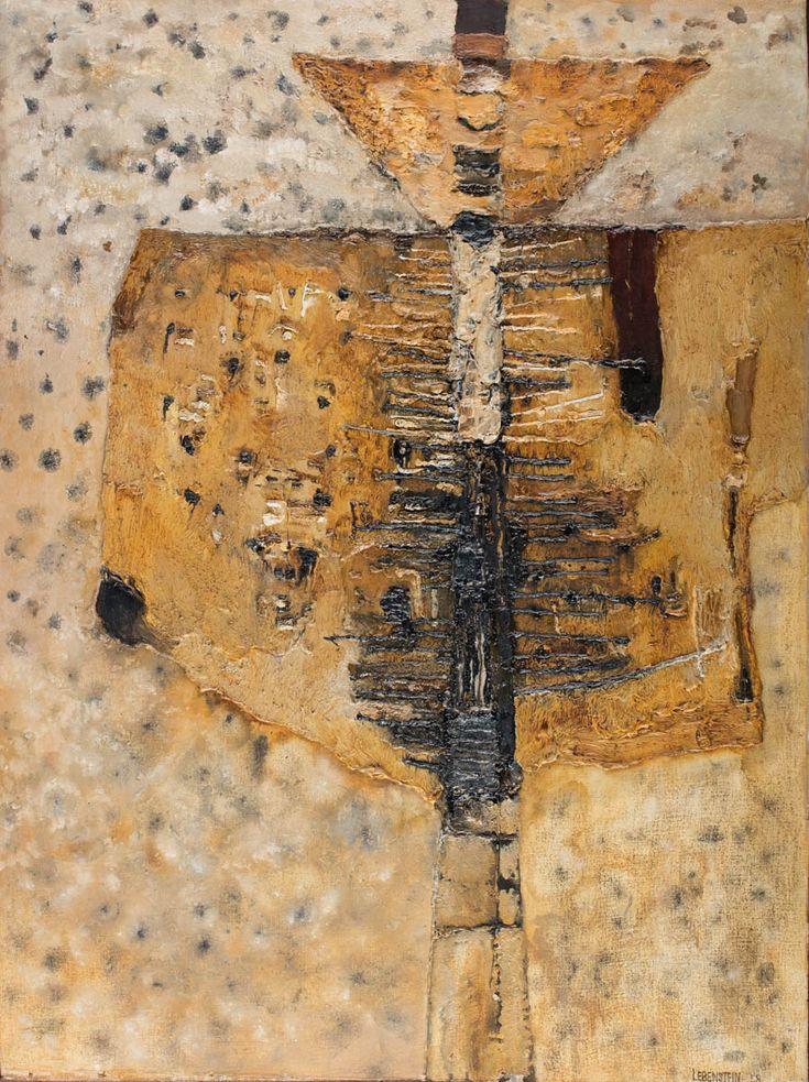 JAN LEBENSTEIN (1930 - 1999)  FIGURA ROZPIĘTA, 1958   olej, płótno / 99,5 x 74,5 cm  sygn. p.d.: Lebenstein 58 na odwrocie nieczytelna pieczęć