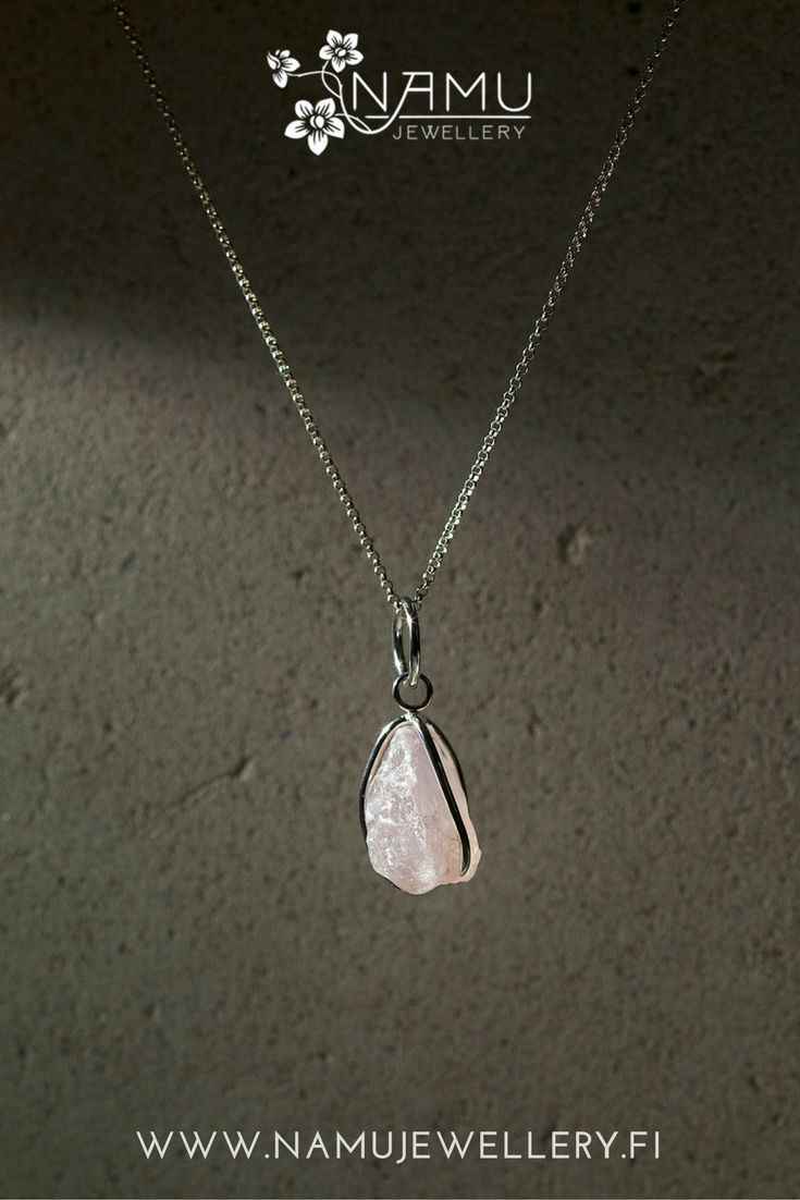 Karu One rose quartz pendant. Karu is made of recycled tensed silver wire and ethically sourced hammered stone. It is rough and edgy and it has an attitude.