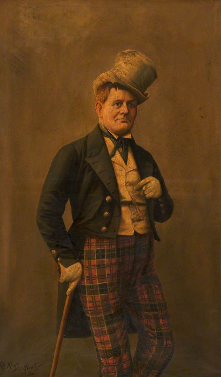 Edwin Brinsley ('Sheridan Brinsley') (1835–1890), Comedian, by Albert Milton Drinkwater, 1900. This three-quarter-length portrait depicts the comedian Sheridan Brinsley in character, dressed in plaid trousers and a dark tailcoat with brass buttons over a light waistcoat and wearing a top hat at a jaunty angle. He is also wearing gloves and leaning on a walking stick. 'Sheridan Brinsley' was the stage name of Edwin Brinsley who performed at the Theatre Royal, Warrington. Victorian theatre