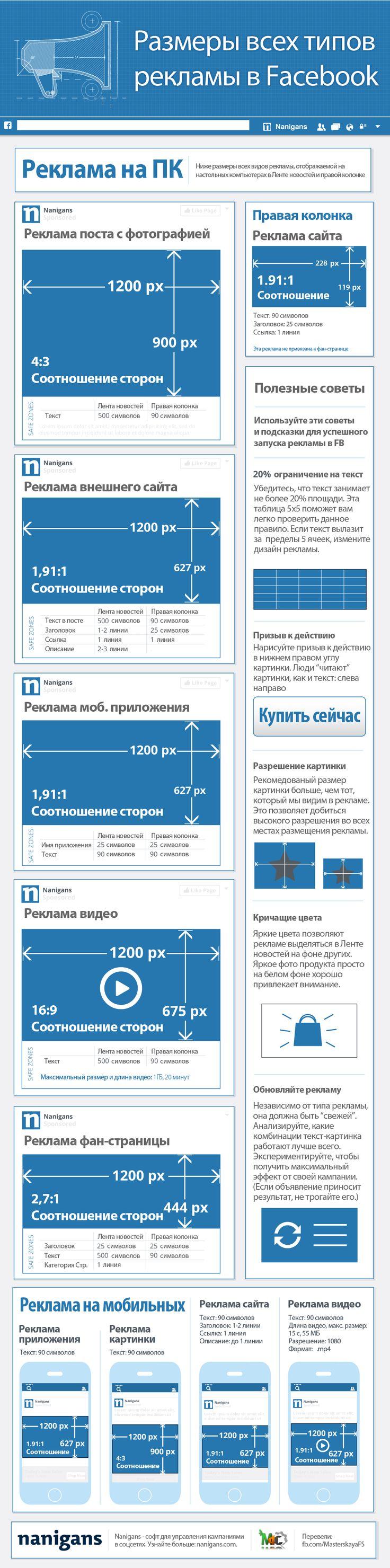 Размеры всех рекламных форматов на #Facebook http://www.masterskayafanstranic.com.ua/razmery-reklamnyx-kartinok-facebook/