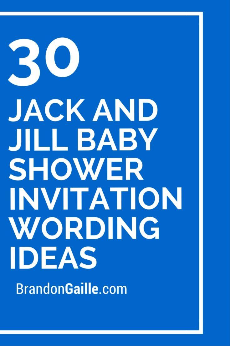 30 Jack and Jill Baby Shower Invitation Wording Ideas ...