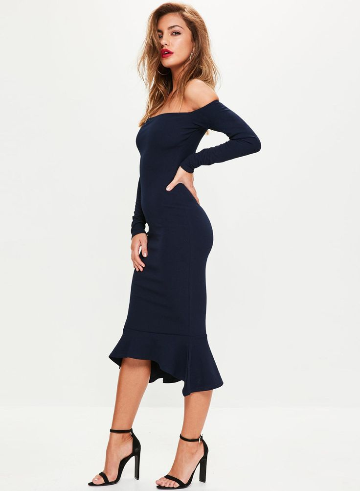 Off Shoulder Long Sleeve Bodycon Fishtail Dress | victoriaswing