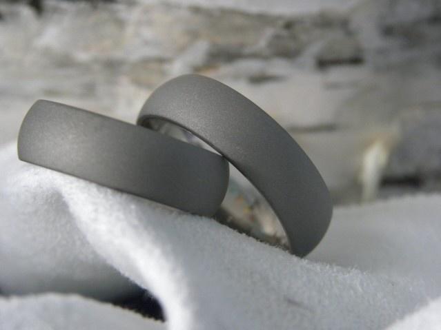 Titanium Ring SET Matte Sandblasted Gray by titaniumknights