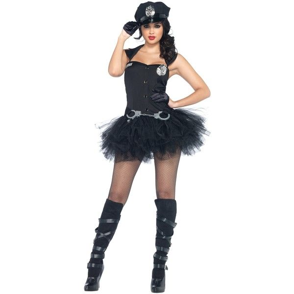 Handcuff Honey Cop Costume ($49) ❤ liked on Polyvore featuring costumes, halloween costumes, policeman halloween costume, police officer halloween costume, cop halloween costume, police woman costume and cop costumes