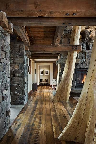 Tree columns; Montana Reclaimed Lumber: Trees Trunks, Idea, Dreams Houses, Floors, Hallways,  Sawmil, Beams, Logs Cabins, Stones