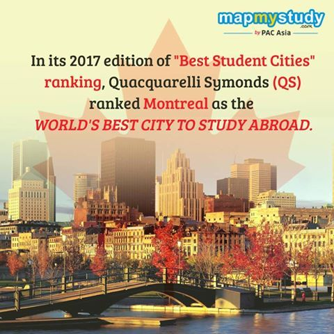 Montreal is now world's best student friendly city for international students also named THE INTELLIGENT COMMUNITY OF THE YEAR 2017  So, if you aspire to study in Montreal, Quebec, connect with us and one of our Study Abroad consultants will be glad to assist you.