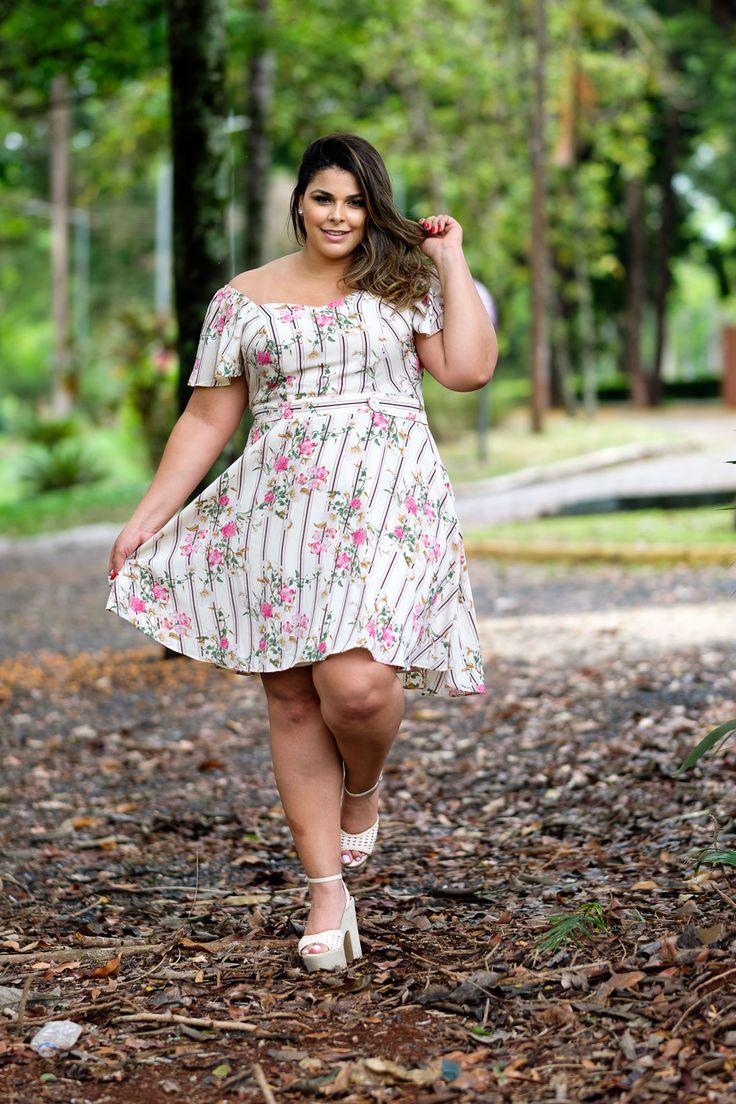 vestido estampado, vestido listrado, vestido plus size, vestido com elastico na manga, vestido rodado, vestido de v… | Novidades da Semana 5! Plus Size in 2019 | Pinterest | Plus size, Moda and Curvy