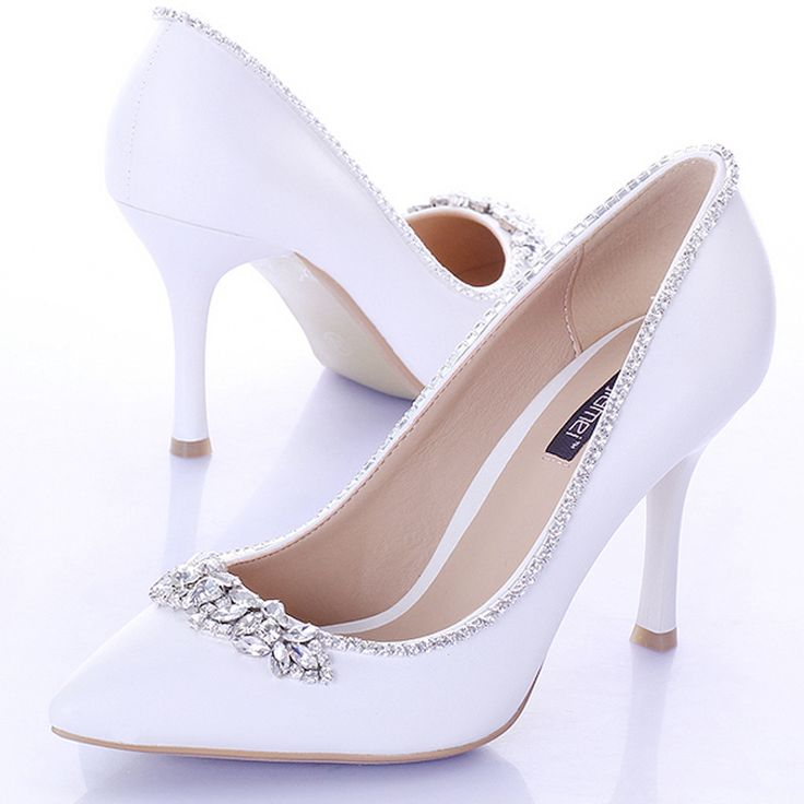 >> Click to Buy << 9cm Heels Women Pumps Satin Formal Dress Shoes Sweet White Bridal Shoes with Crystal Pointed Toe  Wedding Party Prom Shoes #Affiliate