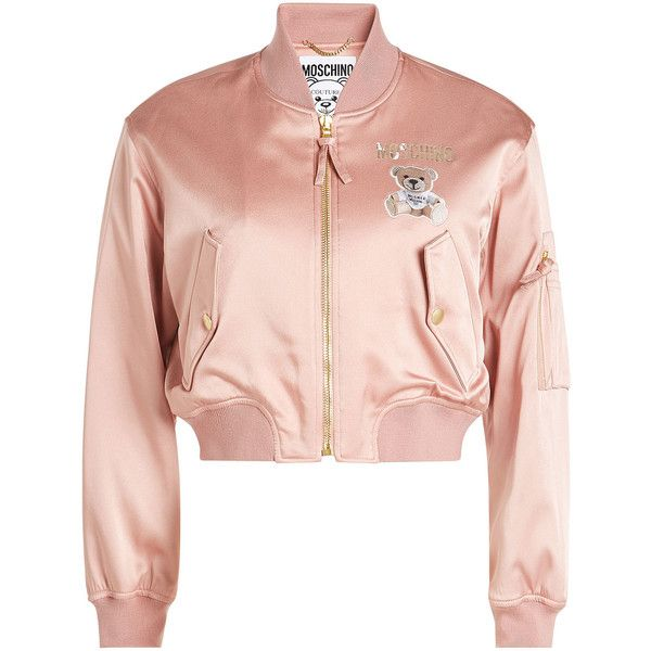 Moschino Satin Bomber Jacket ($1,360) ❤ liked on Polyvore featuring outerwear, jackets, pink, satin jacket, cropped jacket, pastel bomber jacket, pink jacket and satin bomber jackets