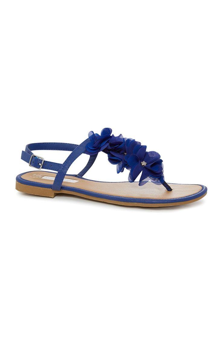 Primark - Blauwe sandaal met stoffen bloemen