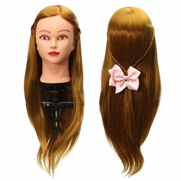 30% Human Hair Training Head Mannequin Clamp Holder Cutting Braiding Practice Blonde