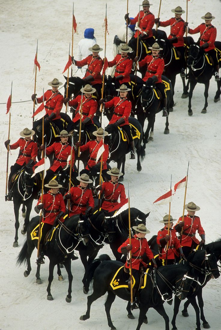 The Royal Canadian Mounted Police makes an appearance at the opening ceremonies of the 1988 games in Calgary, Canada.