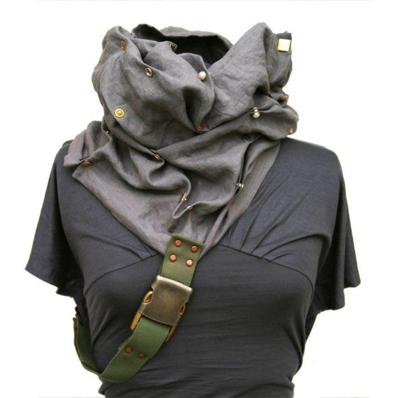 bohemian linen clothing | Cowl Linen Scarf Hood- Apocalyptic Haute Couture fashion - Bohemian ...