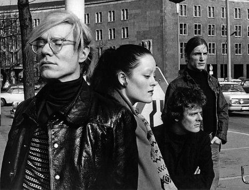 Andy Warhol, Jane Forth, Paul Morrissey and Joe Dallesandro at Platz der Luftbruecke (II), West Berlin 1971 (by Leo Weisse).