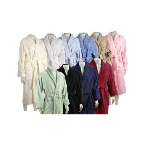 Egyptian Cotton Bath Robe Towel Sheets Unisex Men's Women's Black Pink Blue Egyptian Cotton Bath Robe Towel Sheets Unisex Men's Women's Black Pink Blue Each robe features terry belt, two front patch pockets and fold back style sleeves Unisex Design for Men or Woman 100% Egyptian Cotton 430 GSM Terry Cloth Colors Available: White, Ivory, Pink, Taupe, Black, Burgundy, Lavender, Navy Blue, Sage, Blue Available Sizes: Small, Medium, Large, Extra Large Machine Washable