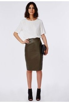 Mariota Faux Leather Midi Skirt Khaki | Church | Pinterest ...