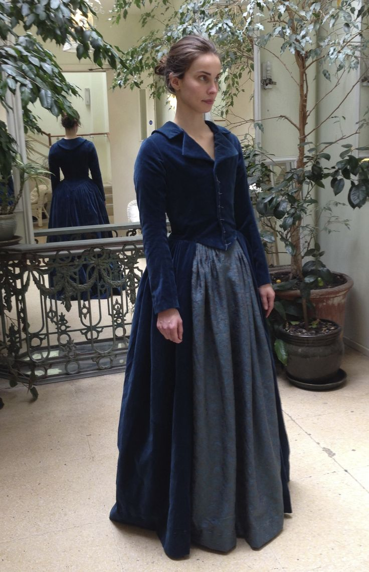 Elizabeth (Heida Reed) costume fitting. Riding outfit made in cotton velveteen with natural holland linen lining. Courtesy of Marianne Agertoft/Mammoth Screen. | Poldark, as seen on Masterpiece PBS