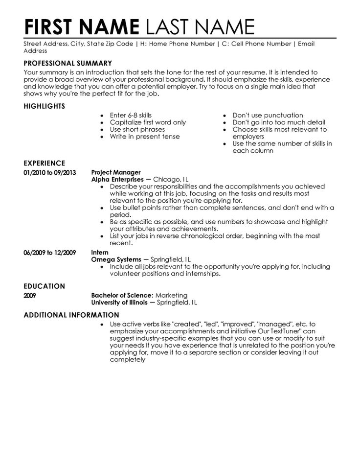 41 best Resume Templates images on Pinterest Free stencils - highlights on a resume