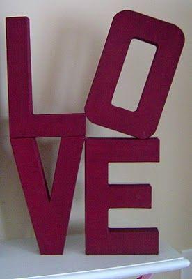 141 best romantic valentine decor images on pinterest for 24 cardboard letters
