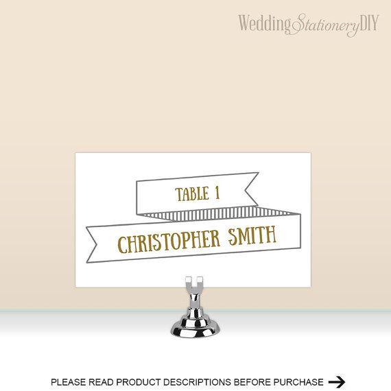 Modern rustic Place cards for wedding by WeddingstationeryDIY
