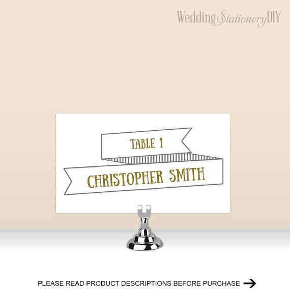 Modern rustic Place cards for wedding by WeddingstationeryDIY