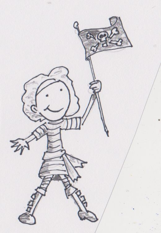 Flying the Jolly Roger. Small sailor with flag.