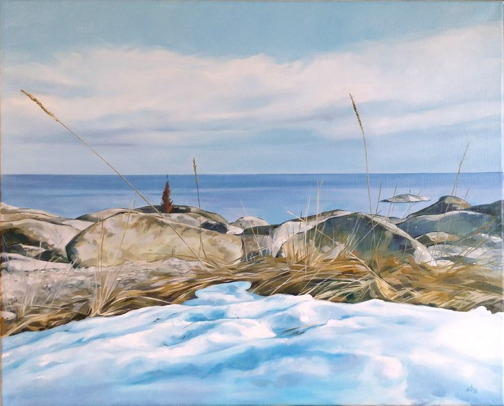 Vårsnö och havet.  #målning #oljemålning #oljemålningar #konst #erikspalett #painting #oilpainting #oilpaintings #art #artist #sweden #härnösand #häggdånger #oil #colors #oilcolor #colour #oilcolour