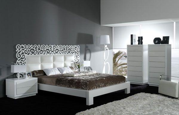 Dormitorio frontales y cabecero en piel sintética y combinado en color blanco