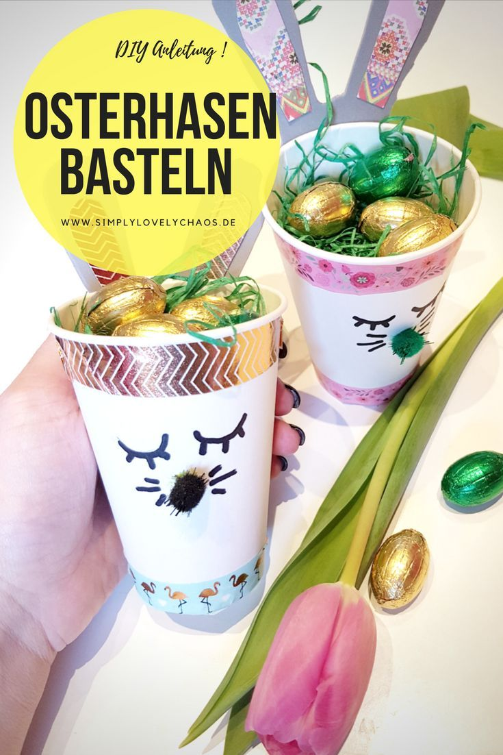 Easter bunnies made of paper cups make Easter basket – DIY instructions