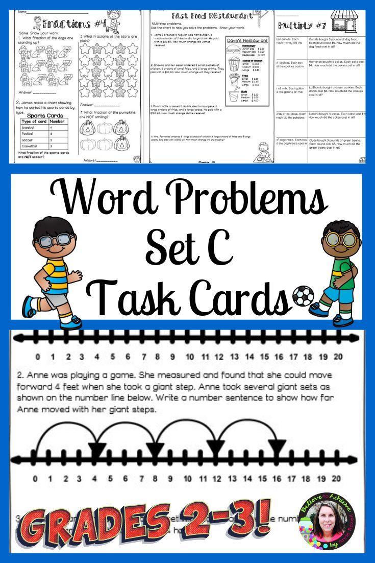 Word Problems 3rd Grade Worksheets Set C   Digital and Printable   Word  problems [ 1102 x 735 Pixel ]