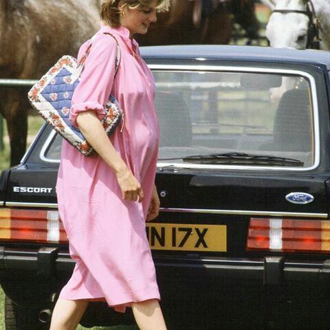 June 04, 1982: Nine months pregnant Diana at The Guards Polo Club in Windsor. Princess Diana carrying a bag she used to carry to the polo before she married Charles.
