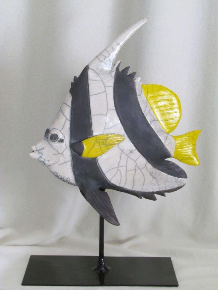 sculpture raku poisson animaux céramique grès Jean-Pierre Meyer