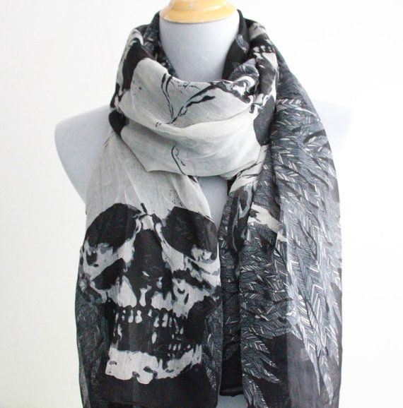 Skull Scarf Skull and Leaf Scarf Halloween by Dailyaccessoriez