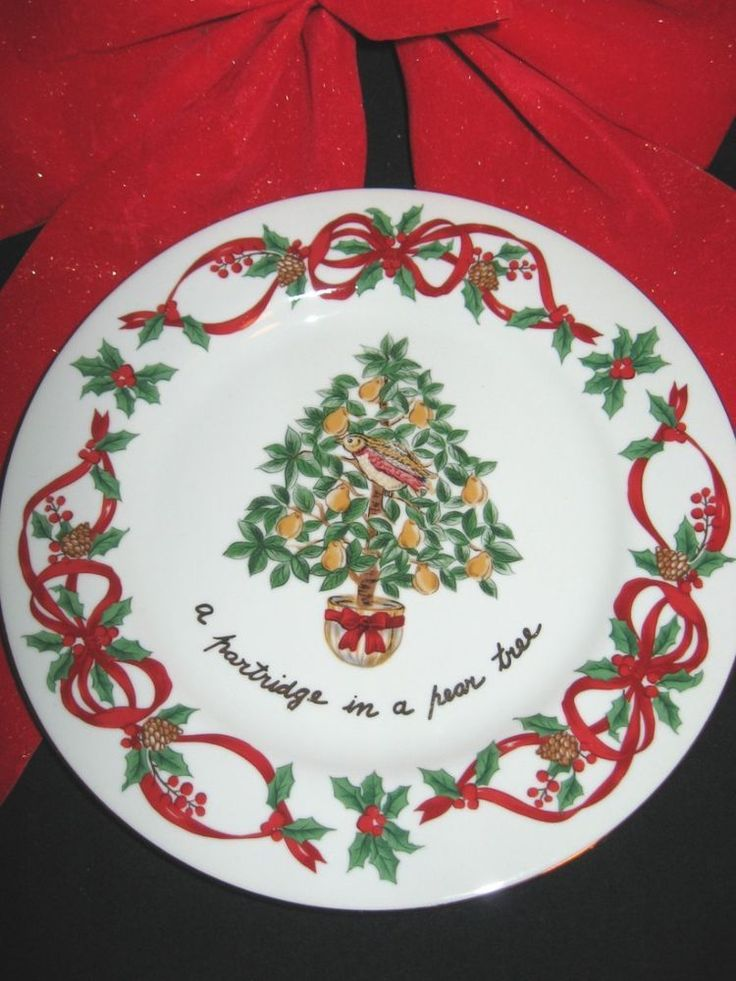 "Noble Excellence China 12 Days of Christmas Salad  Plate 7 1/2"" #1Partridge Pear #NOBLEEXCELLENCE"