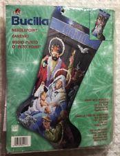 Bucilla Away in a Manger Nativity Christmas Needlepoint Stocking Kit Holiday New