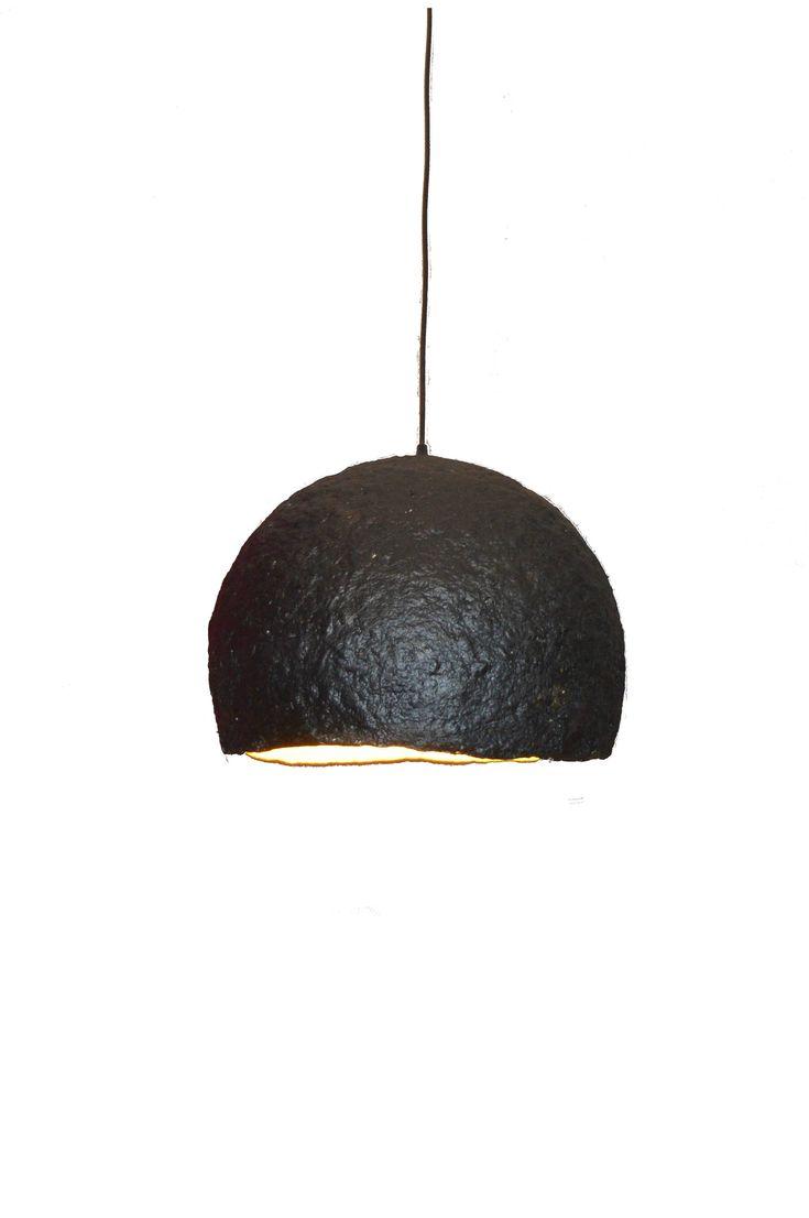 "Paper mache lamp. Black lighting fixture. Modern pendant lamp. Hemisphere lamp. Dining room lamp. Ceiling lighting. Ceiling lamp. (28cm-11"") by LightmeUpDesign on Etsy"
