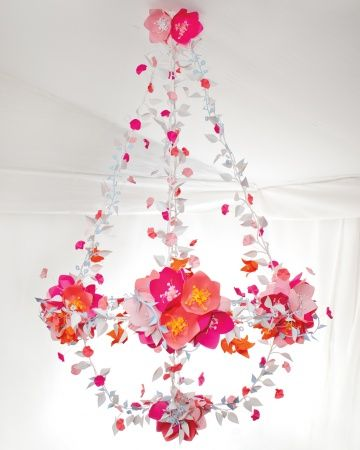 Paper Chandelier:  Six paper chandeliers dangling from the top of the reception tent were constructed in shades found in both the garden and fabric.
