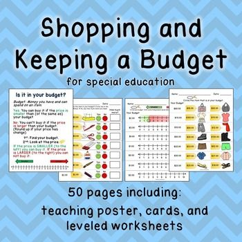 This budgeting resource contains 50 pages to help you teach this skill in your classroom! A teaching poster is included, as well as individual student cards to help them practice this skill, and of course, over 40 leveled worksheets as well!  Worksheets include: -Determining what's in your budget using a number line (levels 0-10, 0-20, and 0-100) -Is this price in your budget?