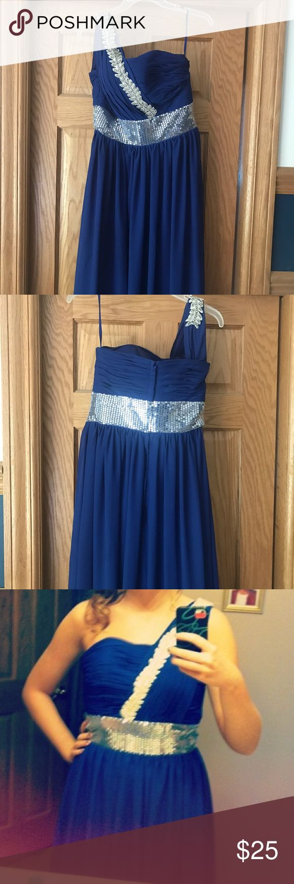 Navy Blue one strap dress LIKE NEW only worn once. One strap, navy blue, floor length gown with silver sequin accents Dresses Prom